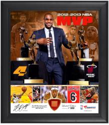LeBron James Miami Heat 4-Time NBA MVP Framed 15'' x 17'' Collage with Game-Used Ball Piece - Mounted Memories