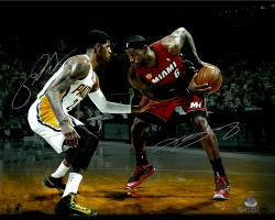 LeBron James Miami Heat & Paul George Indiana Pacers Dual Autographed 16'' x 20'' with Ball Photograph