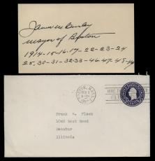 James M. Curly (d.1958) Signed 3x5 Index Card- Mayor of Boston