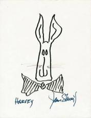 "James Stewart ""harvey"" Signed 8.5x11 Harvey Sketch Drawing Psa #v03060"