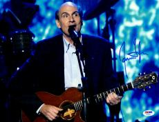 "James Taylor Autographed 11""x 14"" Playing Guitar In Suit Jacket Photograph  - PSA/DNA COA"