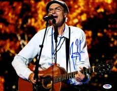 "James Taylor Autographed 11""x 14"" Playing Guitar Wearing Glasses Photograph  - PSA/DNA COA"