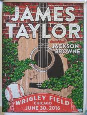 JAMES TAYLOR Signed 2016 WRIGLEY FIELD Chicago CONCERT POSTER Cubs w/ PSA DNA