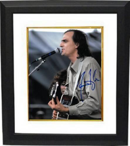 James Taylor signed 8x10 Photo Custom Framed (tan shirt-blue sig)- PSA/JSA/BAS Guaranteed To Pass