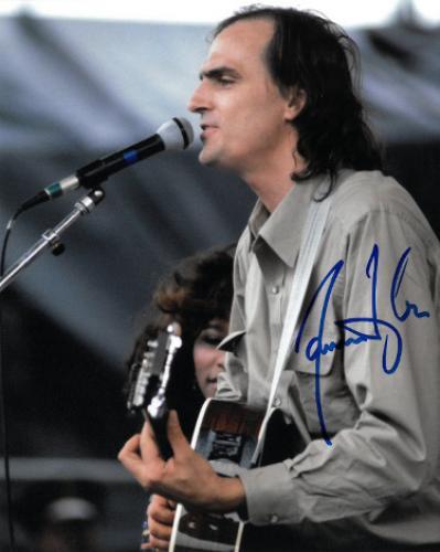 James Taylor signed 8x10 Photo (tan shirt-blue sig)- PSA/JSA/BAS Guaranteed To Pass