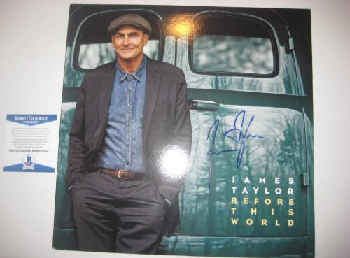 JAMES TAYLOR Signed BEFORE THIS WORLD Album Cover w/ Beckett COA