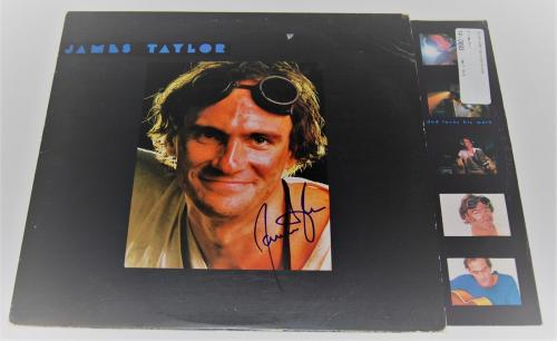 JAMES TAYLOR signed (DAD LOVES HIS WORK) RECORD ALBUM LP SWEET BABY JAMES W/COA
