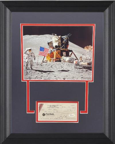James/Jim Irwin signed 1990 Cancelled Bank Check w/ Photo w/ Matted w/ Custom Framing 14x18- JSA (NASA Apollo 15 Astronaut)