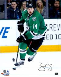 """Jamie Benn Dallas Stars Autographed Green Jersey With Puck 16"""" x 20"""" Photograph"""