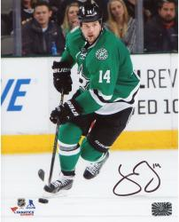 """Jamie Benn Dallas Stars Autographed Green Jersey With Puck 8"""" x 10"""" Photograph"""
