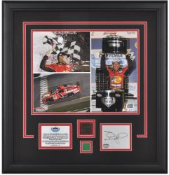 Jamie McMurray Daytona 500 Champion Framed Photo wth Tire, Green Flag & Autograph Card - Mounted Memories