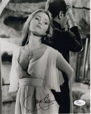 JANE SEYMOUR HAND SIGNED 8x10 PHOTO     GREAT POSE WITH ROGER MOORE 007      JSA