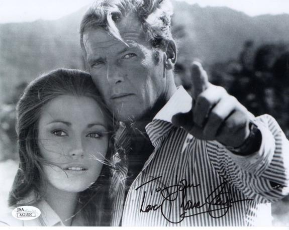 JANE SEYMOUR HAND SIGNED 8x10 PHOTO    WITH 007 ROGER MOORE     TO STEVE     JSA