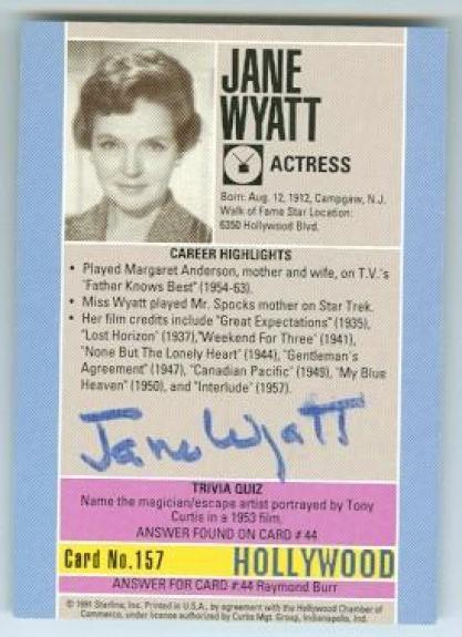 Jane Wyatt autographed trading Card (Star Trek Spock Mom Father Knows Best) 1991 Hollywood Walk of Fame #157 Back