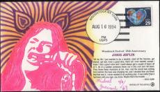 Janis Joplin First Day Cover Original Art Dated 8/16/94 Woodstock 4/69