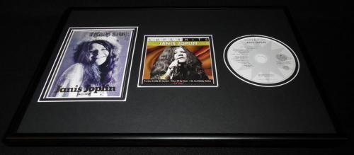 Janis Joplin Framed 12x18 Rolling Stone Cover & Superhits CD Display