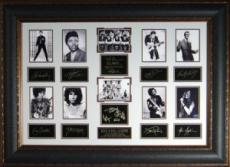 Janis Joplin unsigned Rock Legends Vintage 10 Photo Engraved Signature Series Leather Framed 27x39 (entertainment)