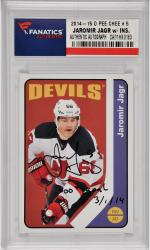 Jaromir Jagr New Jersey Devils Autographed 2014-15 O Pee Chee #5 Card with 700th Goal 3/1/14 Inscription