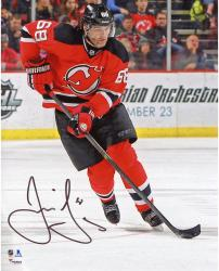 "Jaromir Jagr New Jersey Devils Autographed Skating with Puck 8"" x 10"" Photograph"