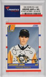 Jaromir Jagr Pittsburgh Penguins Autographed 1990 Score Rookie #428 Card with 2 X SC Champs Inscription