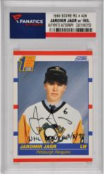 Jaromir Jagr Pittsburgh Penguins Autographed 1990 Score Rookie #428 Card with NHL Debut 10/5/90 Inscription