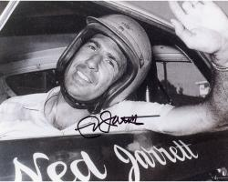 Ned Jarrett Autographed 8'' x 10'' Black and White In Car Photograph
