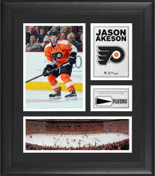 """Jason Akeson Philadelphia Flyers Framed 15"""" x 17"""" Collage with Piece of Game-Used Puck"""