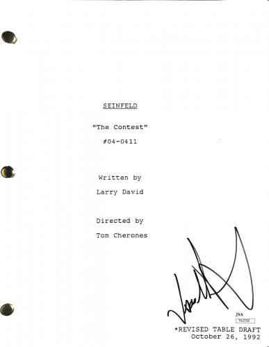 Jason Alexander Signed Seinfeld The Contest TV Script JSA #T62558
