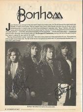 Jason Bonham Led Zeppelin Music Legend Signed Autograph 8x10 Magazine Page Coa D