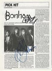 Jason Bonham Led Zeppelin Music Legend Signed Autograph 8x10 Magazine Page Coa E