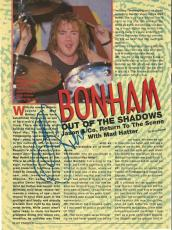 Jason Bonham Led Zeppelin Music Legend Signed Autograph 8x10 Magazine Page Coa H