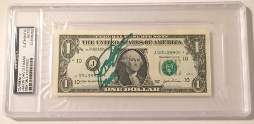 Jason David Frank Green Power Ranger Signed $1.00 Star Note Bill PSA/DNA Slabbed