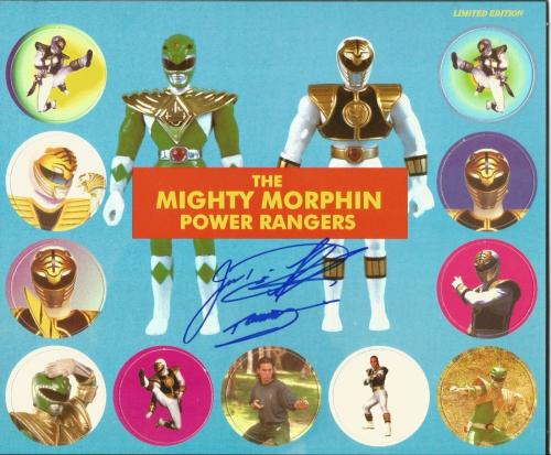 Jason David Frank Power Rangers Green White Signed Complete Pogs Set PSA/DNA COA