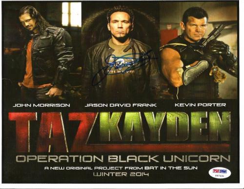 Jason David Frank POWER RANGERS Taz Kayden Signed 8x10 Photo Card PSA/DNA COA