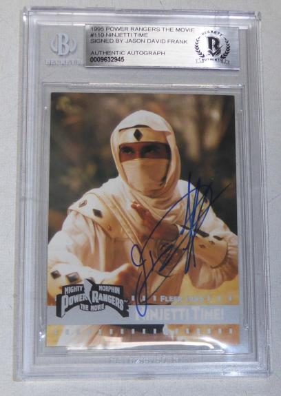 Jason David Frank Signed 1995 Fleer Mighty Morphin Power Rangers Card BAS COA 2