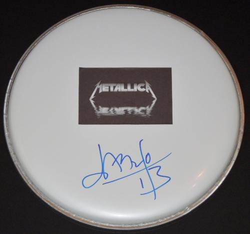 Jason Newsted Signed - Autographed Drumhead Drum Head with METALLICA Sticker Logo - Guaranteed to pass BAS