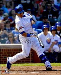 Javier Baez Chicago Cubs Autographed 16'' x 20'' Swinging at Baseball Photograph