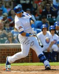Javier Baez Chicago Cubs Autographed 8'' x 10'' Swinging at Baseball Photograph