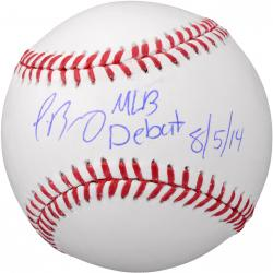 Javier Baez Chicago Cubs Autographed Baseball with MLB Debut 8/5/14 Inscription
