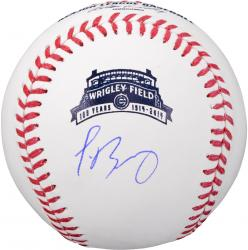 Javier Baez Chicago Cubs Autographed Wrigley 100th Anniversary Baseball