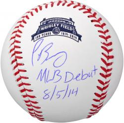 Javier Baez Chicago Cubs Autographed Wrigley 100th Anniversary Baseball with MLB Debut 8/5/14  Inscription
