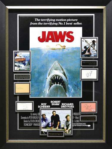 Jaws Signed Display. Framed37x50.