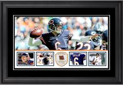 "Jay Cutler Chicago Bears Framed 10"" x 18""  Panoramic with Piece of Game-Used Football - Limited Edition of 250"
