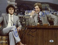 JAY LENO & DAVID LETTERMAN SIGNED AUTOGRAPHED 11x14 PHOTO LATE NIGHT BECKETT BAS