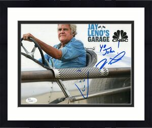 JAY LENO HAND SIGNED 8x10 COLOR PHOTO     GREAT POSE IN CAR     TO JOHN      JSA