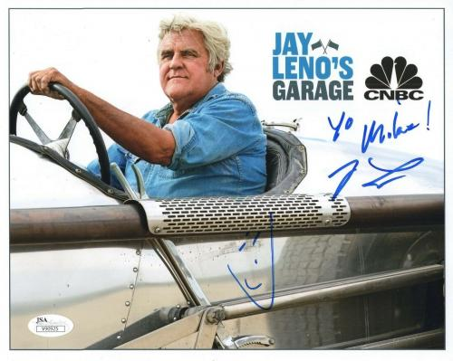 JAY LENO HAND SIGNED 8x10 COLOR PHOTO     GREAT POSE IN CAR    TO MIKE       JSA
