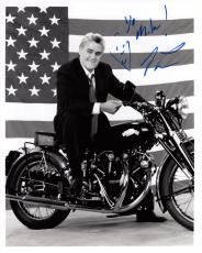 JAY LENO HAND SIGNED 8x10 PHOTO+COA     GREAT POSE ON HIS MOTORCYCLE    TO MIKE