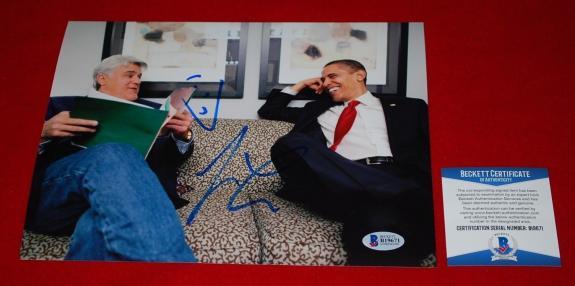 JAY LENO the tonight show signed beckett 8x10 photo BAS 5 barack obama