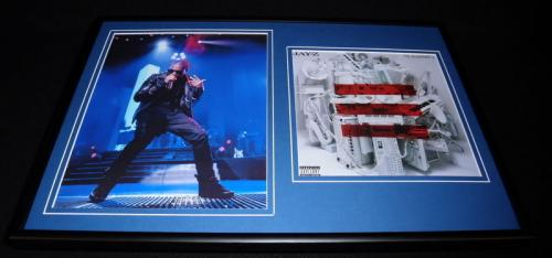 Autographed jay z memorabilia signed photos other items jay z blueprint 3 framed 12x18 photo display malvernweather Image collections