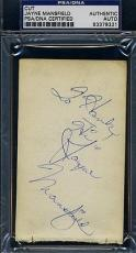 Jayne Mansfield Signed Psa/dna 3x5 Index Card Certed Autograph